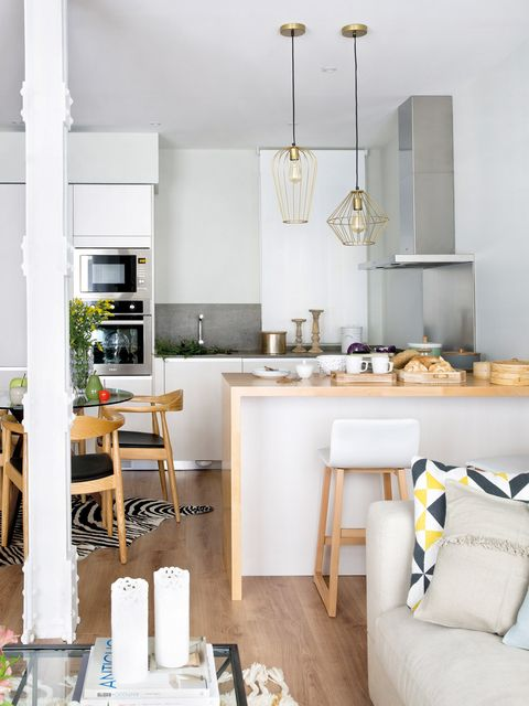 White, Room, Furniture, Interior design, Property, Kitchen, Yellow, Dining room, Building, Ceiling,