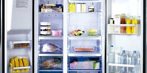 Major appliance, Food, Freezer, Refrigerator, Kitchen appliance, Home appliance, Bottle, Food group, Drink, Produce,