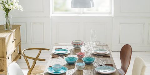 Wood, Blue, Room, Furniture, Dishware, Table, Home, White, Dining room, Interior design,
