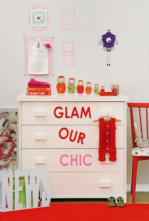 Room, Red, Drawer, Chest of drawers, Peach, Cabinetry, Dresser, Shelving, Home accessories, Chest,