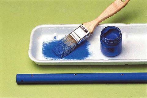 Blue, Paint roller, Brush, Paint, Watercolor paint, Rectangle,