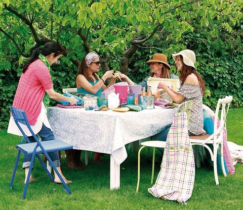 Recreation, Furniture, Table, Outdoor furniture, Leisure, Outdoor table, Chair, Summer, Hat, Sitting,