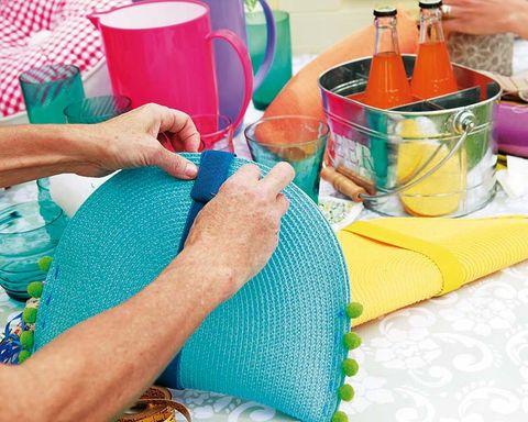 Textile, Hand, Wrist, Nail, Teal, Aqua, Turquoise, Knitting, Linens, Thread,