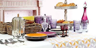 Tablecloth, Dishware, Textile, Serveware, Linens, Purple, Orange, Home accessories, Glass bottle, Bottle,