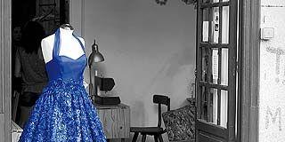 Dress, Floor, One-piece garment, Fixture, Mannequin, Electric blue, Cobalt blue, Day dress, Home accessories, Home door,
