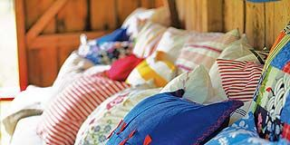 Blue, Room, Textile, Bedding, Linens, Bedroom, Home, Bed sheet, Orange, Azure,