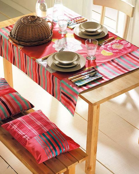 Serveware, Dishware, Textile, Table, Tablecloth, Linens, Tableware, Home accessories, Plate, Plaid,