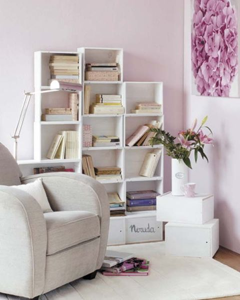 Furniture, Room, Shelf, Living room, Lilac, Interior design, Purple, Shelving, Material property, Chest of drawers,