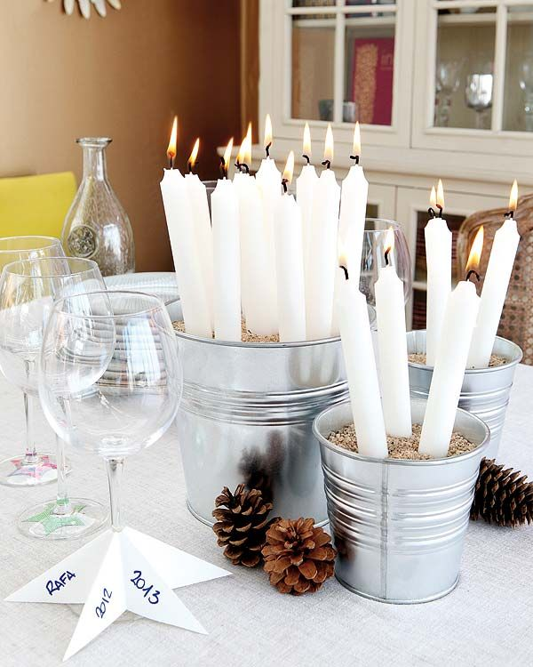 A Bucketful ofChristmas Candles | Breathtakingly Rustic Homemade Christmas Decorations