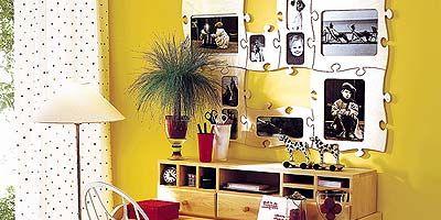 Yellow, Room, Interior design, House, Interior design, Lamp, Lampshade, Shelving, Home accessories, Houseplant,