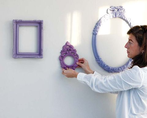 Lavender, Purple, Interior design, Circle, Picture frame, Gesture,