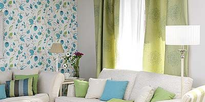 Green, Blue, Interior design, Room, Living room, Furniture, Textile, Table, Home, Couch,