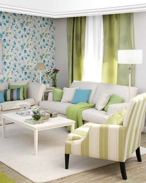 Green, Interior design, Room, Floor, Textile, Furniture, Living room, Flooring, Table, Wall,