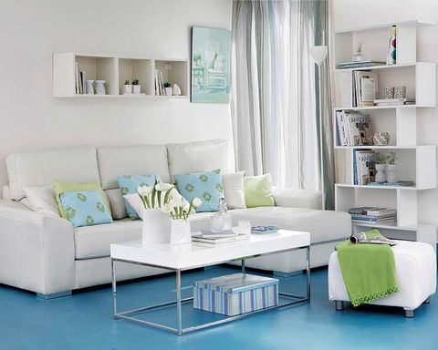 Green, Blue, Room, Interior design, Living room, Home, White, Turquoise, Furniture, Teal,