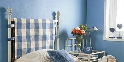 Blue, Room, Interior design, Bedding, Wall, Bed, Home, Textile, Furniture, Bedroom,