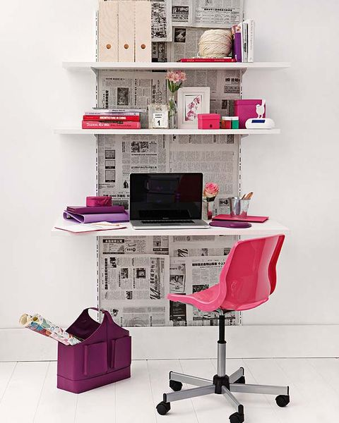 Room, Interior design, Magenta, Pink, Purple, Shelf, Shelving, Wall, Office chair, Computer desk,