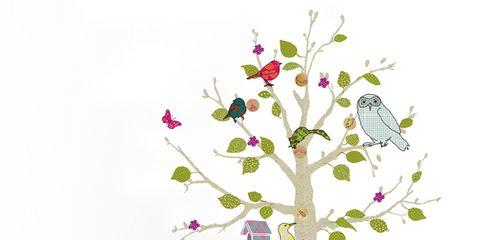 Branch, Twig, Leaf, Art, Bird, Wall sticker, Creative arts, Illustration, Plant stem, Feather,