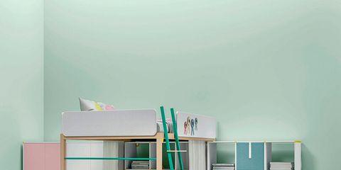 Green, Room, Teal, Aqua, Turquoise, Shelving, Ladder, Toy, Shelf, Plastic,