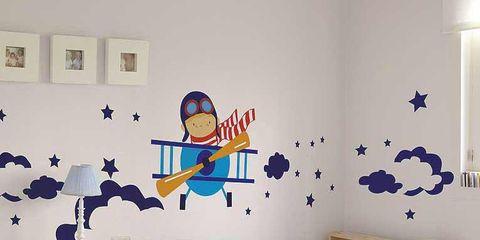 Blue, Room, Interior design, Bed, Wall, Textile, Bedding, Bedroom, Furniture, Linens,