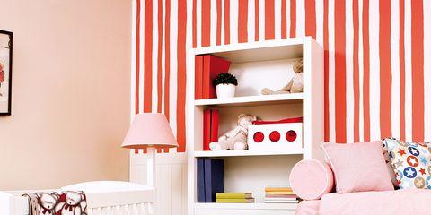 Room, Product, Interior design, White, Wall, Home, Furniture, Orange, Interior design, Infant bed,
