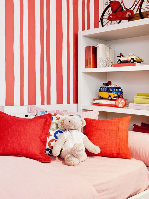 Toy, Red, Textile, Stuffed toy, Interior design, Room, Orange, Shelf, Shelving, Baby toys,
