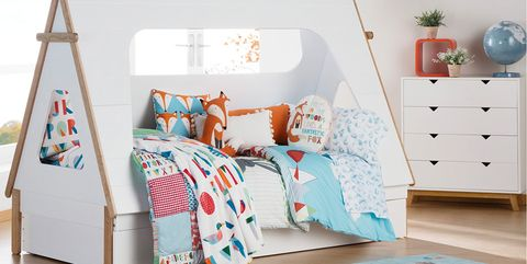 Furniture, Bed, Room, Product, Bedroom, Turquoise, Interior design, Bed sheet, Wall, Bedding,
