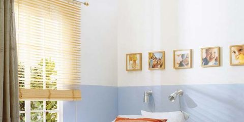Blue, Room, Interior design, Textile, Wall, Bedding, Bedroom, Bed, Home, Window covering,