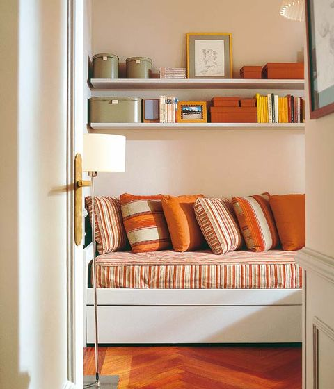 Wood, Room, Interior design, Orange, Wall, Shelving, Flooring, Linens, Hardwood, Shelf,