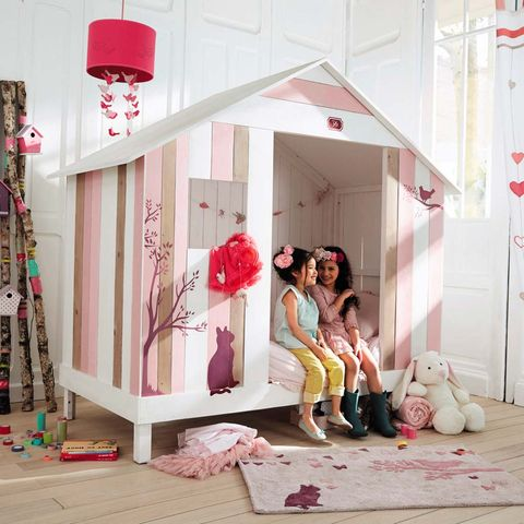 Pink, Room, Bed, Furniture, Bedroom, House, Textile, Photography, Interior design, Child,