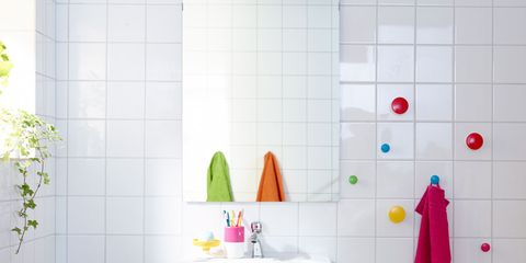 Room, Green, Plumbing fixture, Interior design, Property, Tap, Wall, Purple, Floor, Flooring,