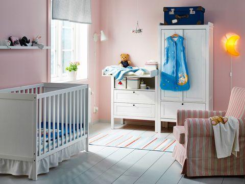 Furniture, Product, Room, Infant bed, Bed, Blue, Nursery, Bedroom, Interior design, Floor,