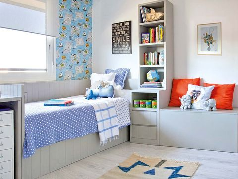 Blue, Room, Interior design, Wall, Floor, Textile, Home, Furniture, Bed, Interior design,