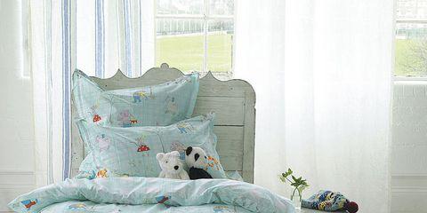 Blue, Room, Green, Interior design, Bed, Bedding, Textile, Bedroom, Wall, Bed sheet,