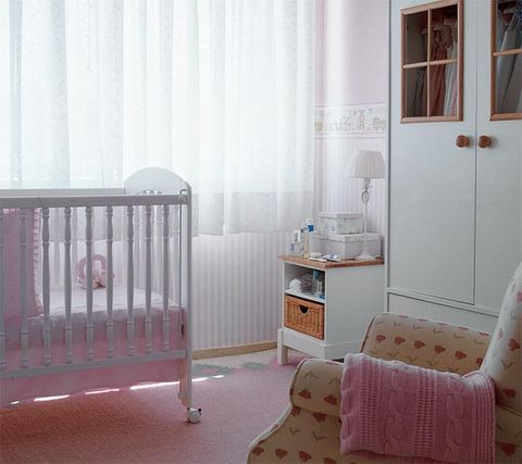Product, Infant bed, Room, Furniture, Pink, Nursery, Bed, Curtain, Baby Products, Interior design,