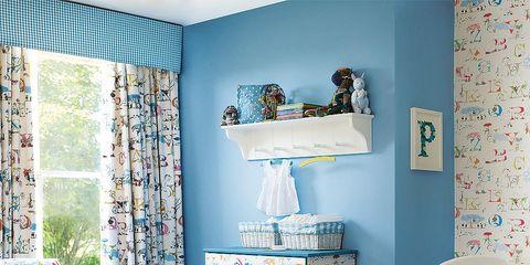Furniture, Room, Blue, Interior design, Turquoise, Product, Bedroom, Aqua, Wall, Bed sheet,