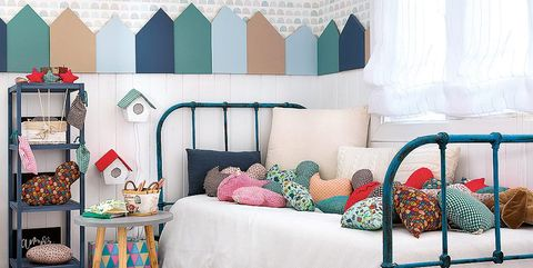 Furniture, Bed, Room, Bedroom, Interior design, Pink, Turquoise, Bed frame, studio couch, Wall,
