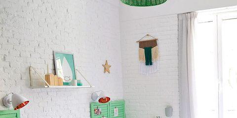 Furniture, Bedroom, Room, Green, Interior design, Bed sheet, Wall, Property, Bed, Pink,