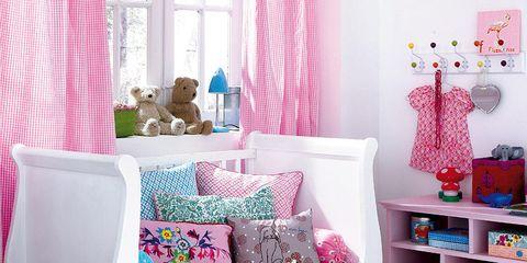 Interior design, Room, Textile, Home, Pink, Curtain, Interior design, Teal, Basket, Living room,