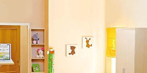 Room, Yellow, Wood, Interior design, Floor, Flooring, Wall, Interior design, Picture frame, Bed,