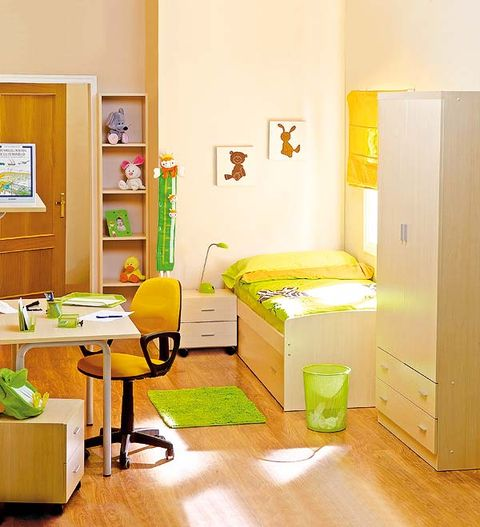 Room, Yellow, Wood, Interior design, Floor, Flooring, Wall, Interior design, Picture frame, Bed,