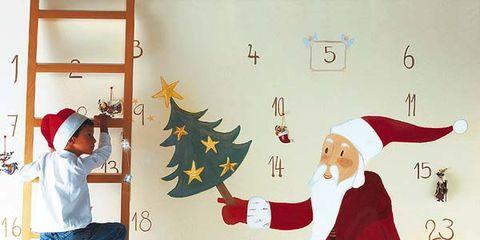 Human, Human body, Room, Holiday, Interior design, Christmas decoration, Christmas eve, Linens, Fictional character, Ladder,