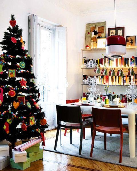 Room, Interior design, Christmas decoration, Christmas tree, Home, Furniture, Interior design, Bottle, Holiday, Shelving,
