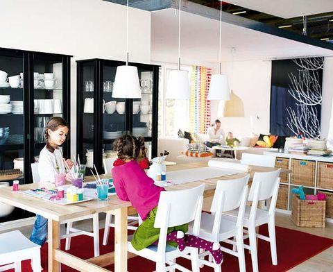 Table, Furniture, Room, Interior design, Chair, Restaurant, Light fixture, Decoration, Outdoor furniture, Shelf,