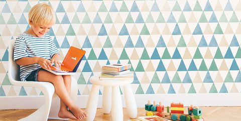 Wallpaper, Wall, Room, Interior design, Pattern, Table, Interior design, Furniture,