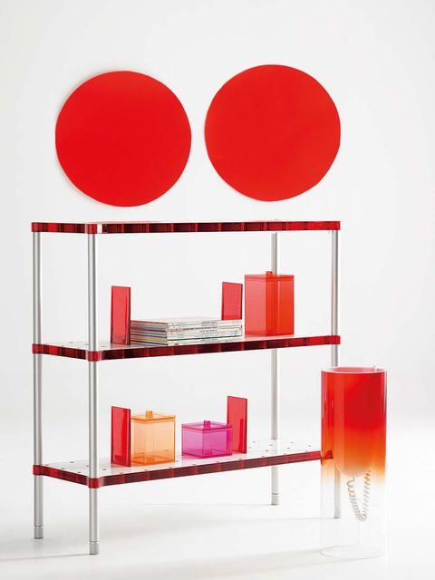 Shelf, Shelving, Red, Furniture, Bookcase, Table, Material property, Room,
