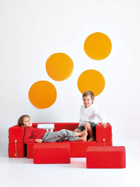 Red, Yellow, Orange, Furniture, Couch, Wall, Sitting, Table, Fun, Material property,
