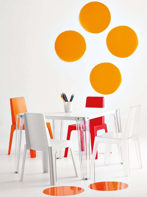 Orange, Yellow, Table, Room, Furniture, Design, Material property, Font, Chair, Serveware,