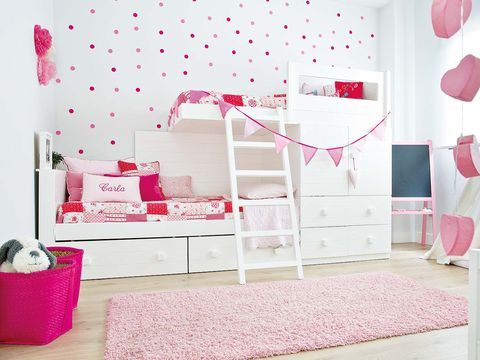 Pink, Product, Room, Decoration, Furniture, Bed, Wall, Interior design, Wallpaper, Bedroom,