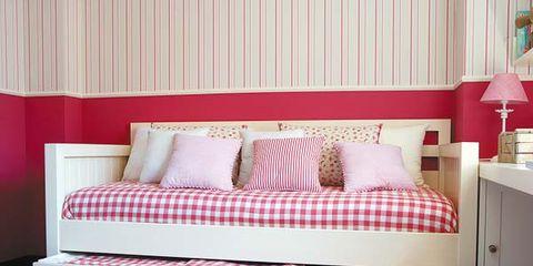 Interior design, Room, Property, Bed, Textile, Wall, Floor, Red, Bedding, Bedroom,