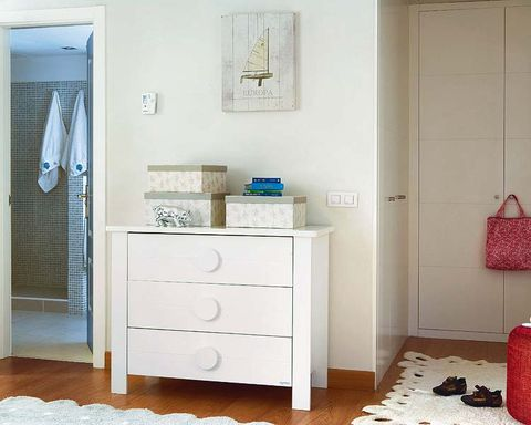 Room, Floor, Drawer, Interior design, Chest of drawers, Flooring, Wall, Cabinetry, Dresser, Teal,